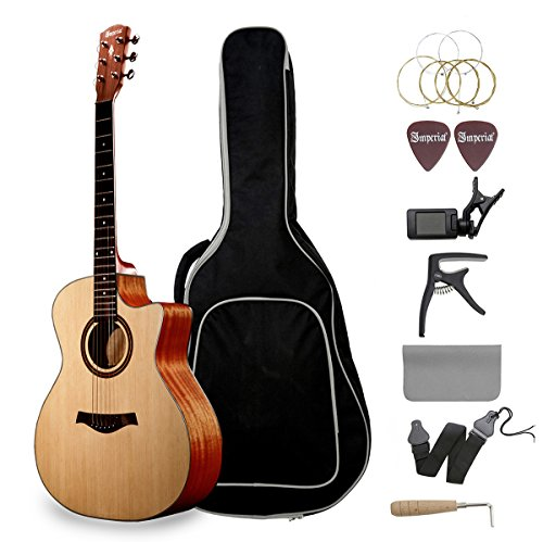 Emperial Acoustic Guitar Cutaway 41'' Beginner Adult Guitar Bundle Gig Bag Tuner Capo Picks Strap Kit by Emperial