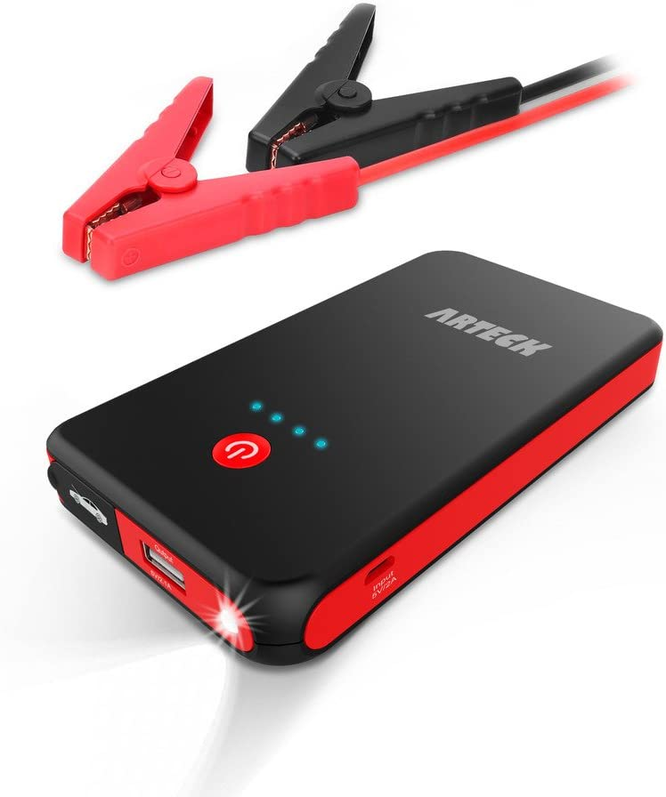Arteck Car Jump Starter Auto Battery Booster and 8000mAh External Battery Charger Car Jumper for 12V Automotive, Motorcycle, Tractor, Boat, Phone with Clamps, LED Flashlight, 300A Peak 2.5L Gas Max