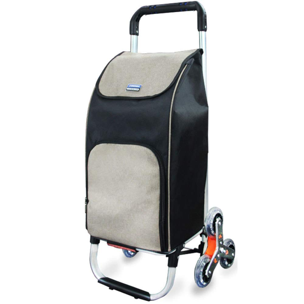 Trolley Aluminum Alloy Lightweight Climbing Stairs Shopping Folding Luggage Cart, Black