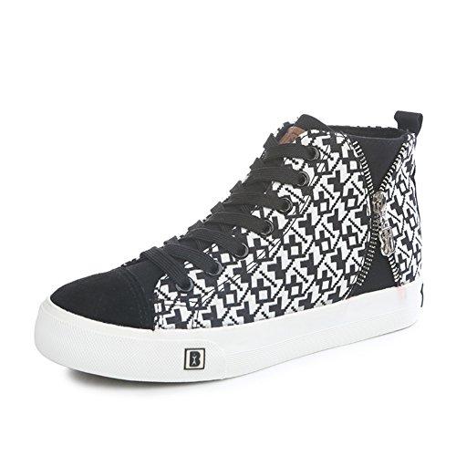 Zapato de otoño de las mujeres alta/Zapatos de aumento de altura de fondo plano/Zapatos de lona moda casual/Zapatos de tela escocesas A