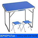 kitchen 67 catering Folding table YXX- Outdoor Wood And Chairs With Handle For Camping Portable Metal Square Computer Desks Foldable long Kitchen & Dining Tables (Color : Table+2 stools, Size : 806067cm)