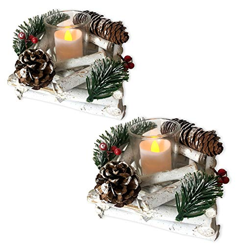 BANBERRY DESIGNS Set of 2 Pine Cone Candle Holders - Red Berries and Whitewashed Driftwood Christmas Decoration