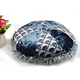 HANANei for Decor Flannel Fabric Round Throw Pillow Case Cushion Cover for Couch (Blue)
