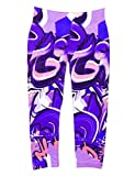 Girl's Graffiti Print Leggings (4-6X, Pink-Purple)