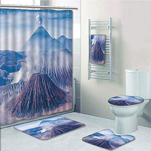 Bathroom 5 Piece Set shower curtain 3d print,Volcano,Bromo Batok and Semeru Volcanoes Java Island Indonesia Magma Activity Decorative,Light Blue Mauve White,Bath Mat,Bathroom Carpet Rug,Non-Slip,Bath
