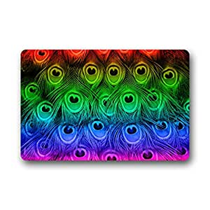 """Gorgeous Fascinating Peacock Feathers Art Design colorful Beautiful Peacock Doormat Mat 23.6""""(L) x 15.7""""(W)"""