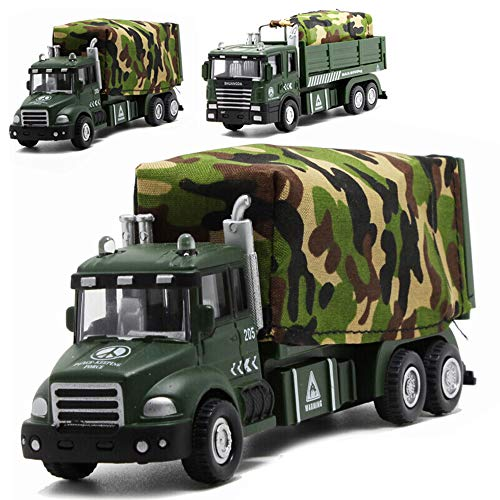(CORPER TOYS Military Vehicle Army Toys Die Cast Metal Alloy Truck Carrier Vehicle Pull Back Model Car with Lights and Sounds for Kids Toddlers Boys(2 Styles are Randomly Selected))