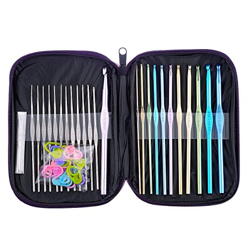 Crochet Hooks 51 Packs set,BCMrun 12 Packs letter sizes (B、C、D、E、G、7、H、I、J、K、L)stainless steel hooks Large-eye Blunt Needles Plastic Split Ring Markers with Purple - Hook I
