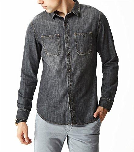 - Aspop Jeans Men's Easy-Fit Denim Work Shirt 2XL Black