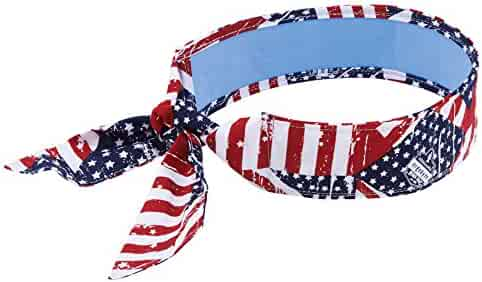 Ergodyne Chill-Its 6700CT Evaporative Cooling Bandana - Tie Closure, Stars and Stripes