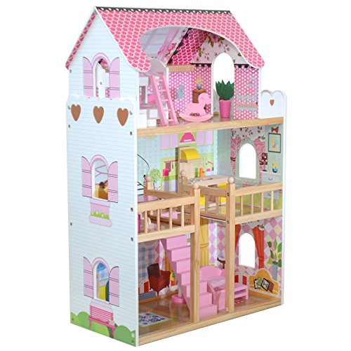 (Tall Wooden Girls Dolls House 3 Storey Town Mansion + Play Furniture Decoration Accessories)