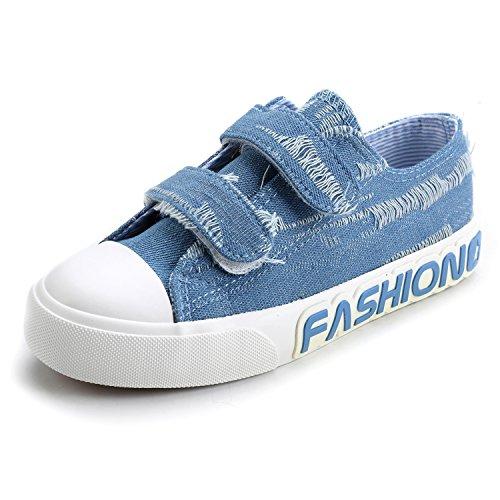 Alexis Leroy Jungen Low-Top Denim Klettverschluss Sneakers Hellblau
