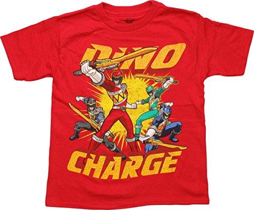 Power Rangers Little Boys' Short Sleeve T-Shirt Shirt, Red Dino, 5/6 (Power Ranger Clothes)