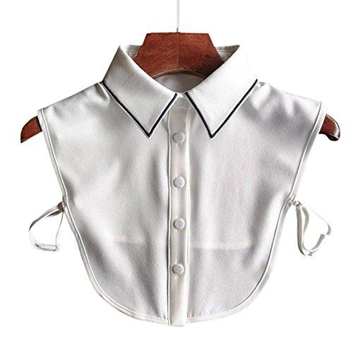 Joyci New Arrival OL Joker Shirt Fake Collar Black Side Embroidery Chiffon Decorative Collar (Pointed collar)