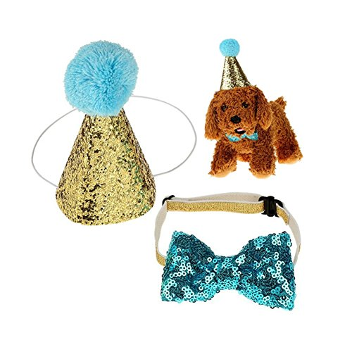 (Stock Show Pet Cute Birthday Party Cone Hat and Blingbling Bow Tie Breakaway Collar Set with Adjustable Headband and Pom-poms Topper for Kitten Puppy Small Dogs Cats, Blue)