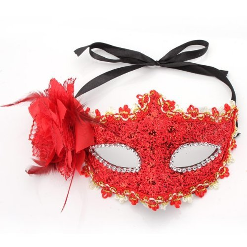 [Dimart Flower Mask Masquerade Costume Prop Red Halloween Fancy Dress Ball Party] (Halloween Costumes Gallery)