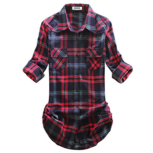 Navy Plaid Button Down Shirt (OCHENTA Women's Mid Long Style Roll Up Sleeve Plaid Flannel Shirt C015 Navy Red Label L - US)