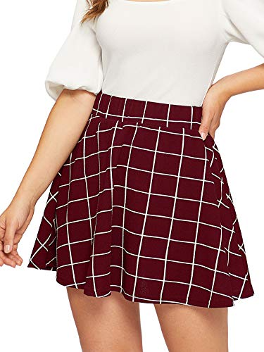 (SheIn Women's Summer Basic Plaid Flared Pleated Mini Skater Skirt Medium Burgundy)