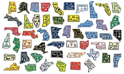 All 50 State Map Outline Magnets Plus Washington DC and Puerto Rico Board Not Included