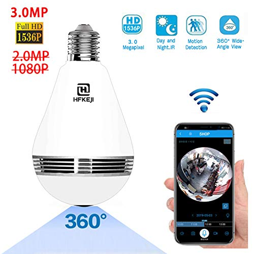 3.0MP 1536P Light Bulb WiFi Panoramic Camera with IR Motion Detection, Night Vision, Two-Way Audio, Cloud Service for Home, Office
