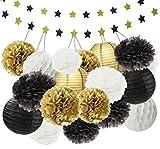 44 pc Gold Black White Party Decoration