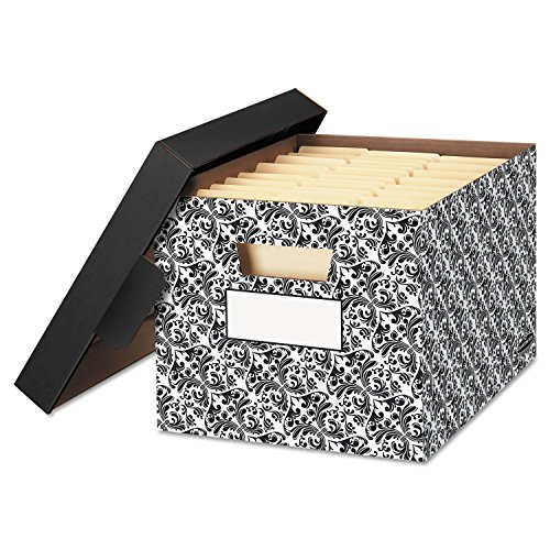 STOR/FILETM Decorative Medium-Duty Storage Boxes, Letter, Black/White Brocade