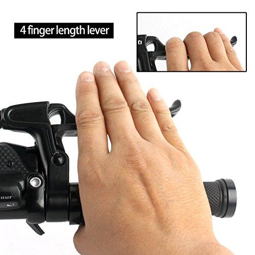 Bicycle Brake Levers 2pcs Mountain Bike Brake Handles 4 Finger 2.2cm Diameter for Most Bicycle, Road Bike, MTB, BMX, Cycling (Aluminum Alloy, Black) by Wake (Image #3)