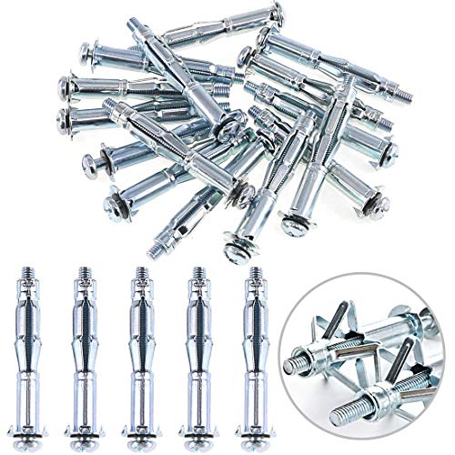 Glarks 30Pcs 6x65MM Heavy Duty Zinc Plated Steel Molly Bolt Hollow Drive Wall Anchor Screws Set for Drywall, Plaster and Tile - Bolt Hollow