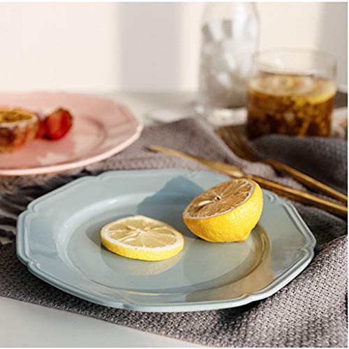 Blue Lace Bread - WZJ-PLATE Nordic Lace Octagonal Plate, Simple Home Fruit Cake Bread Plate (Color : Blue, Size : 20.5x20.5)