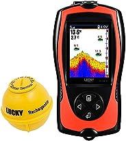 LUCKYLAKER Portable Fish Finder Transducer Sonar Sensor 147 Feet Water Depth Finder LCD Screen Echo Sounder Fi