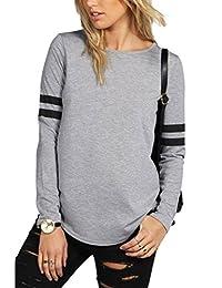 YACUN Women's Striped Patchwork T-shirt Long Sleeve Sweatshirt