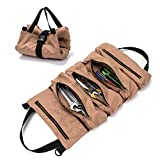 Super Tool Roll, Heavy Duty Durable Wrench Roll with 5 Zipper Pockets, Canvas Pliers Organizer, Socket Organizer, Tool Pouch Sling, Car Seat Back Organizer, Ideal Gift for Men