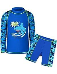 TFJH E Boys 2piece Sunsuits 50+ UV Sun Block Surfing Swim Shirt Trunks Set Navy 10A