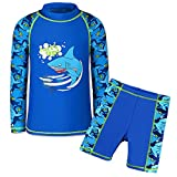 TFJH E Little Boys 2piece Sunsuits UPF 50+ UV Sun Block Surfing Swim Shirt Trunks Set Navy Fish 12A
