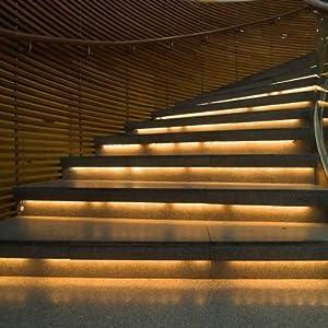 Water-resistance IP65, 12V Waterproof Flexible LED Strip Light, 16.4ft/5m Cuttable LED Light Strips, 300 Units 3528 LEDs Lighting String, LED Tape(Warm White)