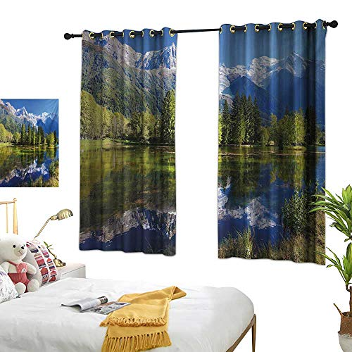 Turquoise Curtains Outdoor,Snowy Mountains Evergreen Spruce Reflected in