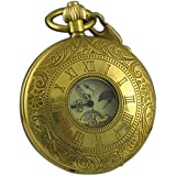 VIGOROSO Men's Vintage Pocket Watch Golden Copper Roman Numbers Hunter Hand Winding Mechanical Case Chain in Box