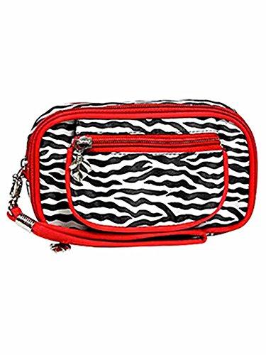 Red Zebra Print Wristlet Makeup Case -