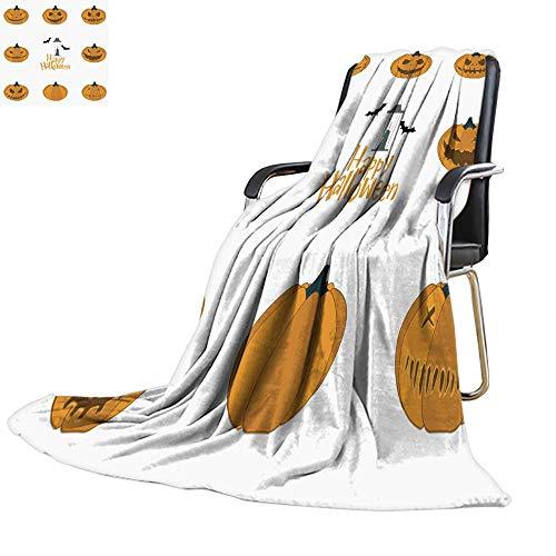 Throw blanketthrow Blanket for couchHalloween Pumpkin Carving Set Happy Halloween Typography Vector 60