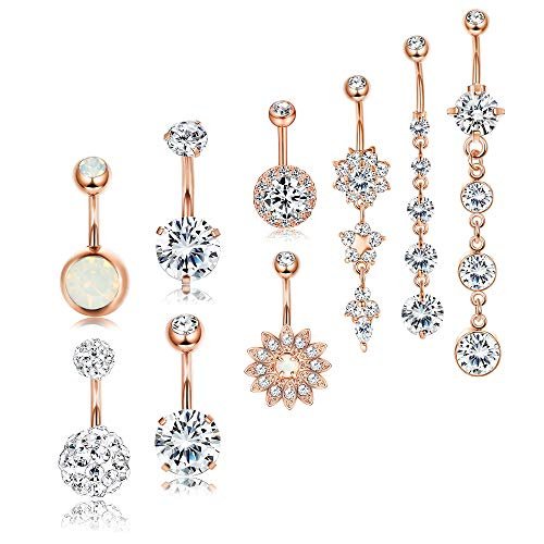 Besteel 9 Pcs 14G Stainless Steel Dangle Belly Button Rings for Women Girls Navel Rings CZ Body Piercing Rosegold-Tone