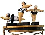 Whimsical Bathing Beauty Retro Swimmer Statue Set 3 | Vintage Swimsuit Woman Figurine