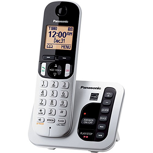 Panasonic Expandable Cordless Phone System with Answering Machine, Call Block and High Contrast Displays and Keypads - 1 Cordless Handset - KX-TGC220S (Silver/Black)