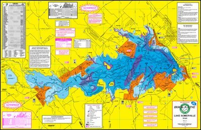 Topographical Fishing Map of Lake Somerville - With GPS Hotspots by Hook N Line