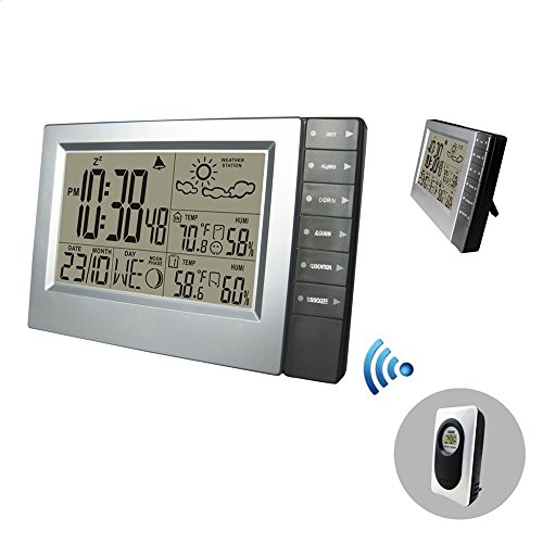 Wireless Weather Station, Digital Alarm Clock Indoor/outdoor Thermometer Hygrometer Weather Forecast (1 (Outdoor Wall Mounted Clock)