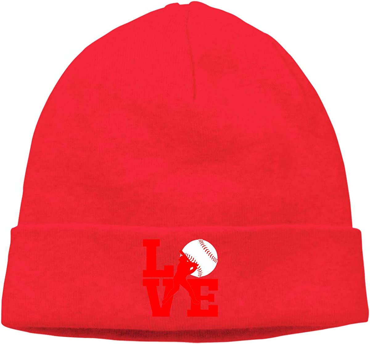 I Love Baseball Women and Men Soft Beanie Hats Winter Warm Knit Beanie Cap