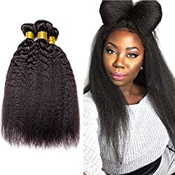 Brazilian Kinky Straight Human Hair Bundles Yaki Straight Hair 3 Bundles Unprocessed Virgin Human Hair Weave Remy Hair Extensions Double Weft Wholesale Natural Black(20 22 24 Inch)