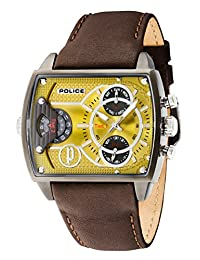 Police Men's Brown Leather Band Steel Case Quartz Yellow Dial Analog Watch 14698JSU/19A