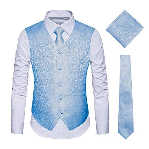 WULFUL Men's 3pc Paisley Vest Necktie Pocket Square Set for Suit or Tuxedo Light Blue