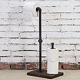 MyGift Industrial Pipe & Burnt Wood Toilet Paper