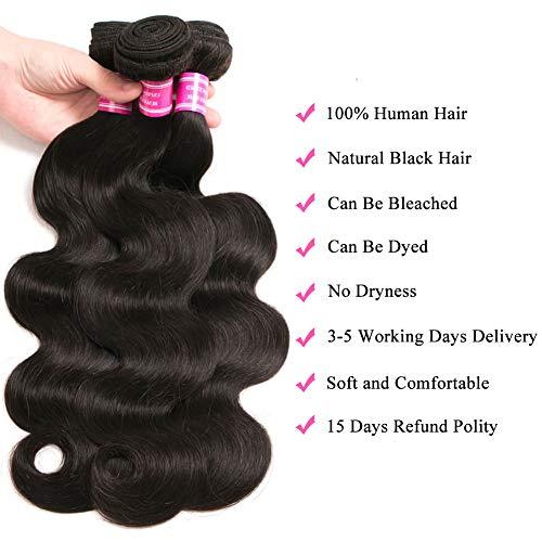 Brazilian Virgin Hair 3 Bundles with Frontal Brazilian Body Wave Human Hair Ear to Ear Lace Frontal Closure With Bundles Frontal with Baby Hair Natural Color (10 12 14 +10, 13x4 lace Frontal)